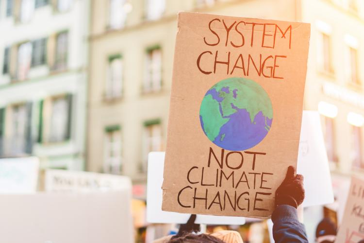 Protest sign reading system change not climate change