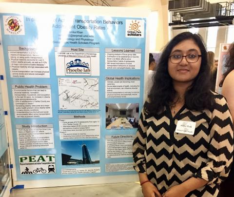 Anika presented PEAT Study research on adolescent active transportation at the UMD Scholars Showcase on May 4, 2017.