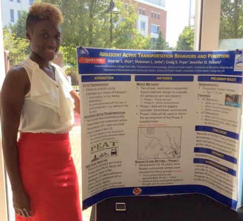 Davette presenting PEAT Study research at the McNair Scholars Poster Presentation, University of Maryland College Park, July 8, 2016.