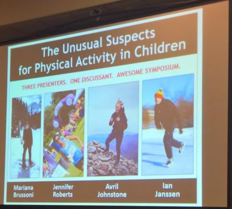 Dr. Roberts presenting a symposium along with Dr. Mariana Brusson, Dr. Ian Janssen, and Ms. Avril Johnstone at the International Society of Behavioral Nurtition and Physical Activity Annual Meeting in Victoria, Canada, June 9, 2017.