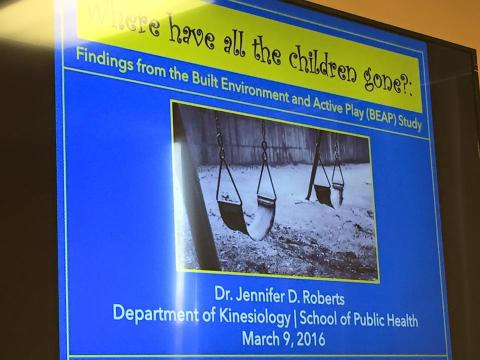 """Where have all the children gone? Findings from the Built Environment and Active Play (BEAP) Study"" Collegium of Scholars Spring 2016 Presentation."