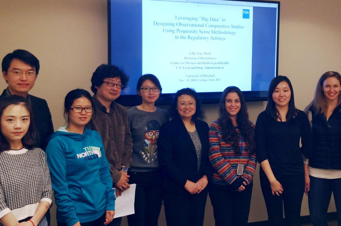 Group picture after a seminar with Dr. Lilly Yue, Deputy Director for Pre-Market and Operations, Division of Biostatistics, Center for Devices and Radiological Health, U.S. Food and Drug Administration