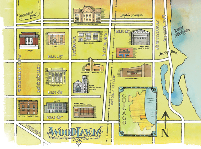 Map of Woodlawn Neighborhood in Chicago