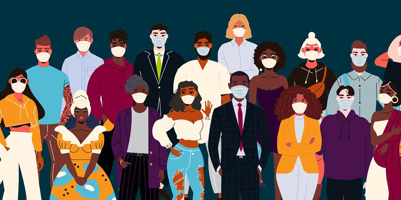 Illustration of diverse group of people wearing masks and ethnic clothing